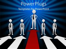 PowerPlugs: PowerPoint template with five 3D human characters wstanding of four white and one red arrow