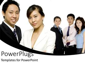 PowerPlugs: PowerPoint template with five adult Asian males and females standing with white background