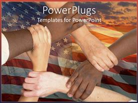 PowerPoint template displaying five adult hands interconnecting over an American flag background