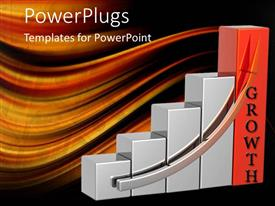 PowerPlugs: PowerPoint template with five bars with a silver arrow and a text with text which spells out the word'growth'