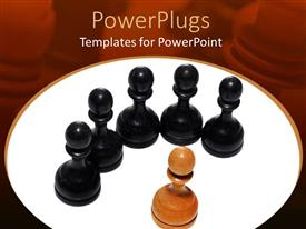 PowerPoint template displaying five black pawn chess pieces and one brown pawn chess piece in front