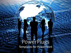 PowerPlugs: PowerPoint template with five black silhouettes of business people standing around an abstract globe on binary code blue background
