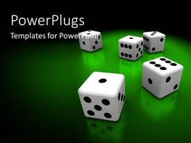 PowerPoint template displaying five black and white dices on a green colored background
