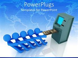 PowerPlugs: PowerPoint template with five blue 3D figures working together to pull out money bill from ATM machine