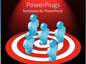 PowerPoint template displaying five blue colored 3D characters standing on a dart board