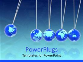 PowerPlugs: PowerPoint template with five blue colored globes lined together with a blue background