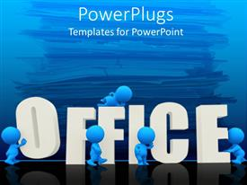 PowerPoint template displaying five blue figures surround three dimensional word office