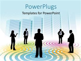PowerPlugs: PowerPoint template with five business men and a woman standing on different colorful spots
