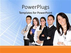 PowerPoint template displaying five business people standing in a line smiling happily