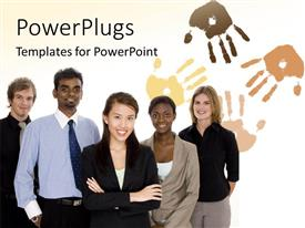 PowerPlugs: PowerPoint template with five business people standing together and smiling on a white background