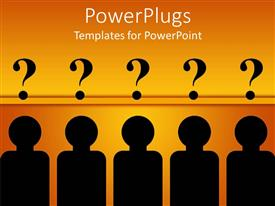PowerPlugs: PowerPoint template with five characters with a question mark symbol over their heads