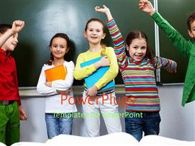 PowerPlugs: PowerPoint template with five children raising hands and smiling while holding books