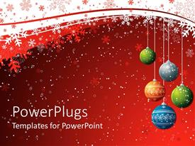 PowerPlugs: PowerPoint template with five christmas balls over a red background with snow flakes