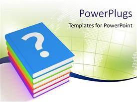 PowerPoint template displaying five colorful books depicting educational concept with map