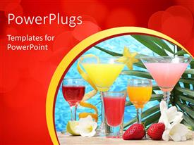 PowerPlugs: PowerPoint template with five colorful cocktail glasses with fresh fruits and flowers