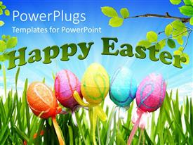PowerPoint template displaying five colorful Easter decorated eggs with the text HAPPY EASTER