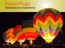 PowerPlugs: PowerPoint template with five colorful hot air balloons at night getting ready to take off