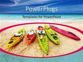 PowerPlugs: PowerPoint template with five colorful kayaks on beach sand with blue cloudy sky