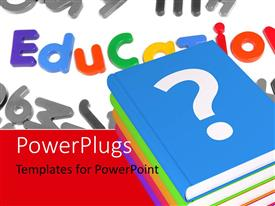 PowerPlugs: PowerPoint template with a number of books with various words in background