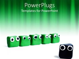 PowerPoint template displaying five cute green boxes with bulging eyes with one black distinct box