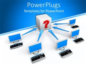PowerPlugs: PowerPoint template with five desktops and keyboards with arrows pointing at box with question mark