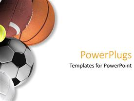 PowerPlugs: PowerPoint template with five different types of sport balls on a white background