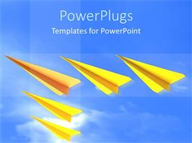 PowerPoint template displaying five flying gold colored paper made airplanes on blue background