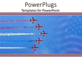 PowerPoint template displaying five flying red planes with colorful smoke behind them and American flag faded in the background