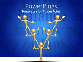 PowerPoint template displaying five gold colored characters forming a pyramid with a text which says