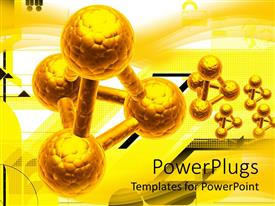 PowerPlugs: PowerPoint template with five gold colored chemical reactions on a yellow background