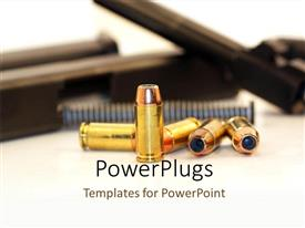PowerPoint template displaying five golden short gun bullets and some gun parts