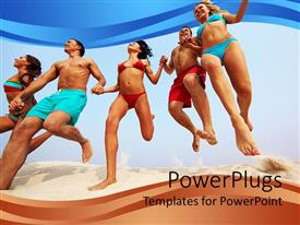 PowerPoint template displaying five happy girls and boys holding hands and jumping in the sand having fun at the beach