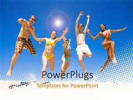 PowerPlugs: PowerPoint template with five happy people in acrobatic jump over white dotted surface