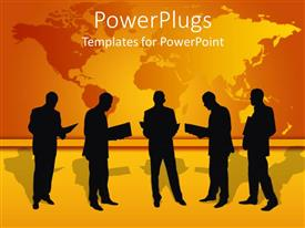 PowerPlugs: PowerPoint template with five human characters reading files with a yellow map background