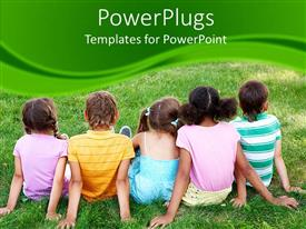 PowerPlugs: PowerPoint template with five kids sitting on grass on a green background