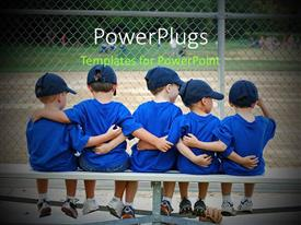 PowerPlugs: PowerPoint template with a number of kids with a playground in front