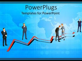 PowerPoint template displaying five men in suits in blue background with map