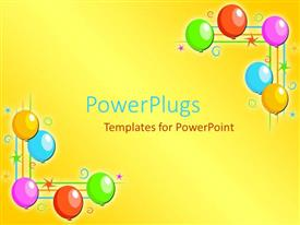 PowerPlugs: PowerPoint template with five multi colored balloons on each side of a yellow background