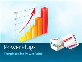 PowerPlugs: PowerPoint template with five multi colored bars with an arrow and some text