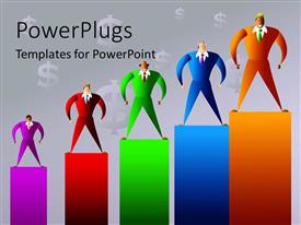 PowerPlugs: PowerPoint template with five multi colored bars with human  characters standing on them