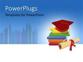 PowerPlugs: PowerPoint template with five multi colored books with a red graduation cap and a scroll
