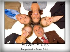 PowerPlugs: PowerPoint template with five people laying down and smiling with their heads together
