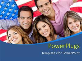 PowerPoint template displaying five people standing in front of an American flag