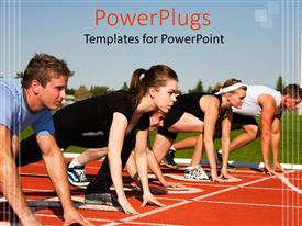 PowerPoint template displaying five people on a starting line for a race