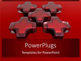 PowerPlugs: PowerPoint template with five red medical crosses made of glass in red background