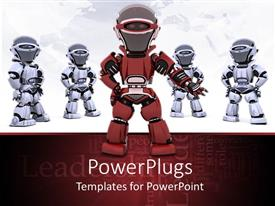 PowerPoint template displaying five robots, one red robot in front and four gray robots standing behind