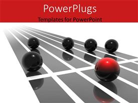 PowerPoint template displaying five round reflective balls rolling with one leading black one