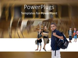 PowerPoint template displaying five school students holding bags and a blurry background