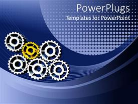 PowerPoint template displaying five silver and one gold gears placed together to form working mechanism