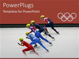 PowerPlugs: PowerPoint template with five skaters moving together in an Olympic competition